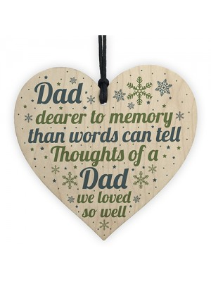Memorial Christmas Tree Bauble DAD Grave Wooden Hanging Heart
