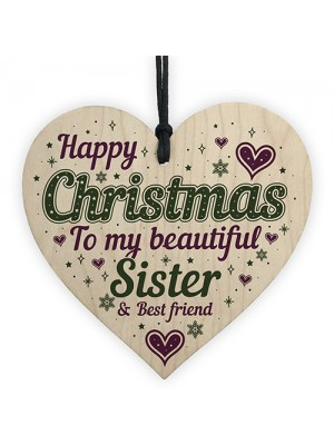 Christmas Sister Friendship Gifts Wooden Heart Tree Decoration