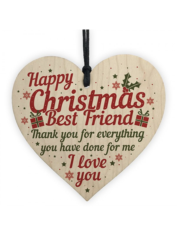 Best Friend Christmas Card Gifts Friendship Friend Wooden Heart