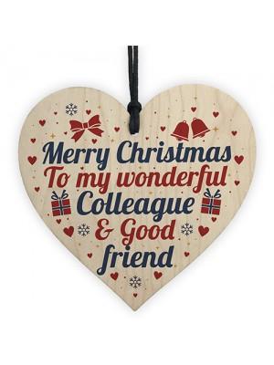 Christmas Colleague Friendship Gifts Secret Santa Wooden Heart