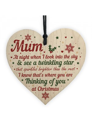 Mum Memorial Gift Christmas Tree Bauble Grave Wood Hanging Heart