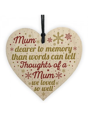 Mum Memorial Christmas Tree Bauble Grave Wooden Hanging Heart