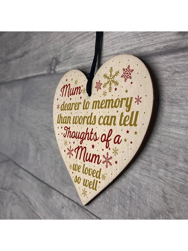 Mum Memorial Christmas Tree Bauble Grave Wooden Hanging Heart