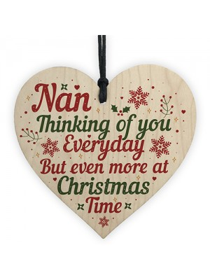 NAN Memorial Christmas Tree Bauble Grave Wooden Hanging Heart