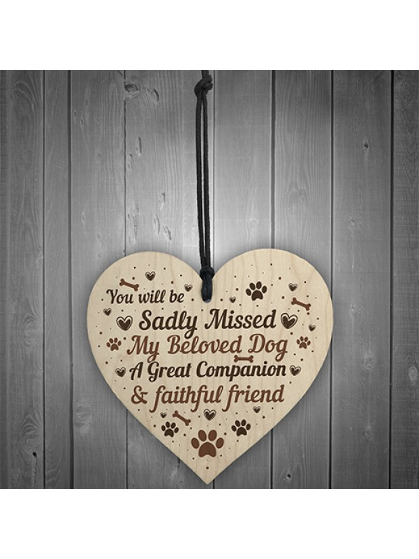 Pet Memorial Dog Wooden Heart Memorial Christmas Bauble Gift