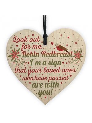 Robin Redbreast Mum Dad Nan Grandad Memorial Wood Heart Plaque