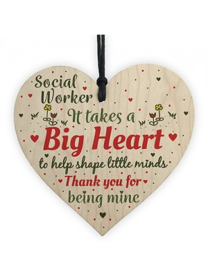 Novelty Social Worker Card Thank You Gift Wood Heart Keepsake