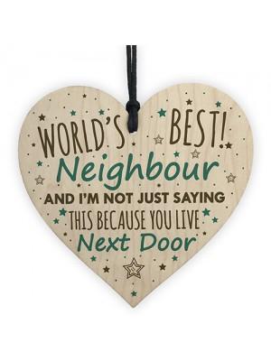 Christmas Best Neighbour Gifts Wooden Heart Keepsake Plaque