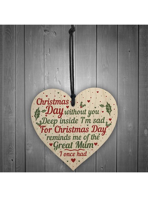 Great Mum Memorial Christmas Tree Bauble Wooden Hanging Heart