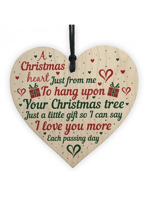 Gift For Mum Dad Nan Wife Christmas Tree Bauble Wood Heart Xmas