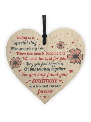 Wedding Gift Wooden Heart Plaque Mr And Mrs Good Luck Gift