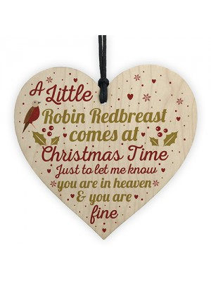 Robin Redbreast Christmas Mum Dad Nan Memorial Wood Heart Gift