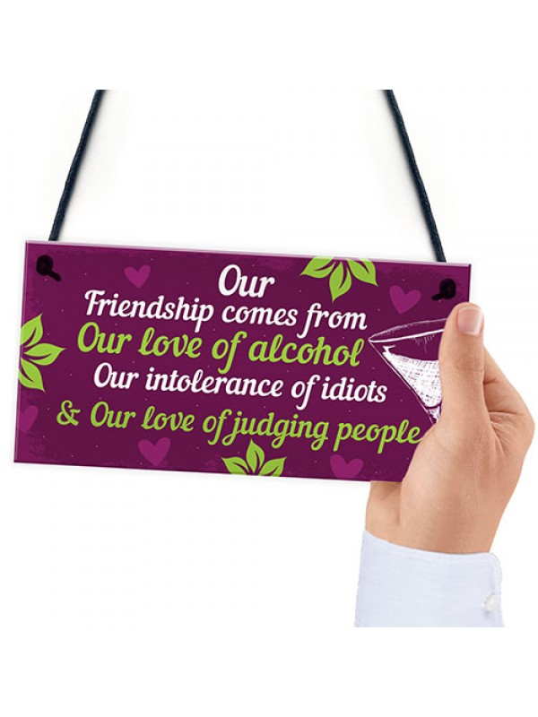 Funny Friendship Gifts For Women Birthday Plaque Alcohol Sign