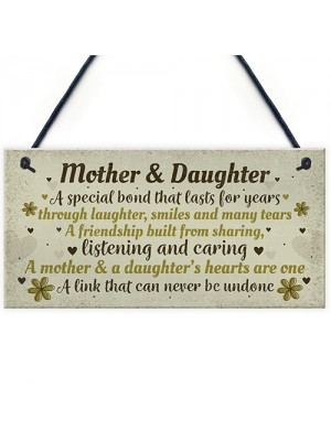 Mother And Daughter Gift Hand Made Home Sign Plaque Mum Gift