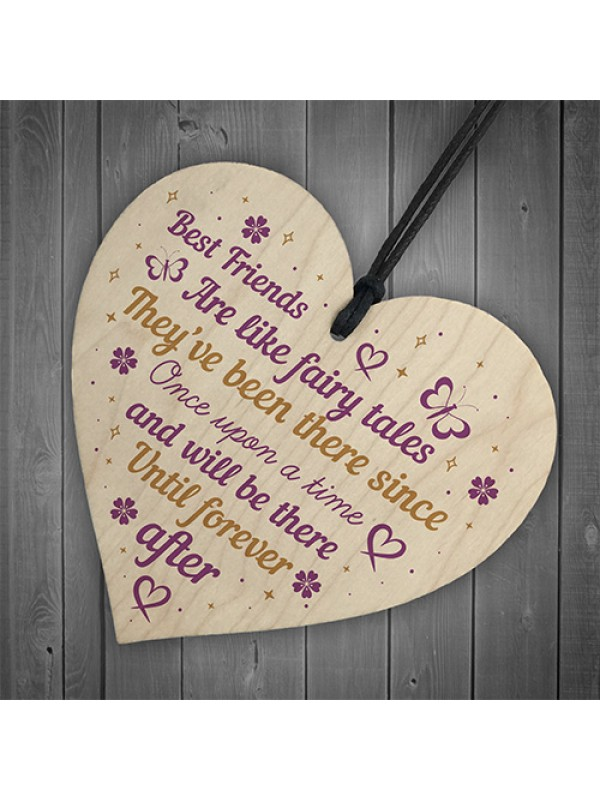 Best Friend Friendship Plaque Wooden Heart Thank You Christmas