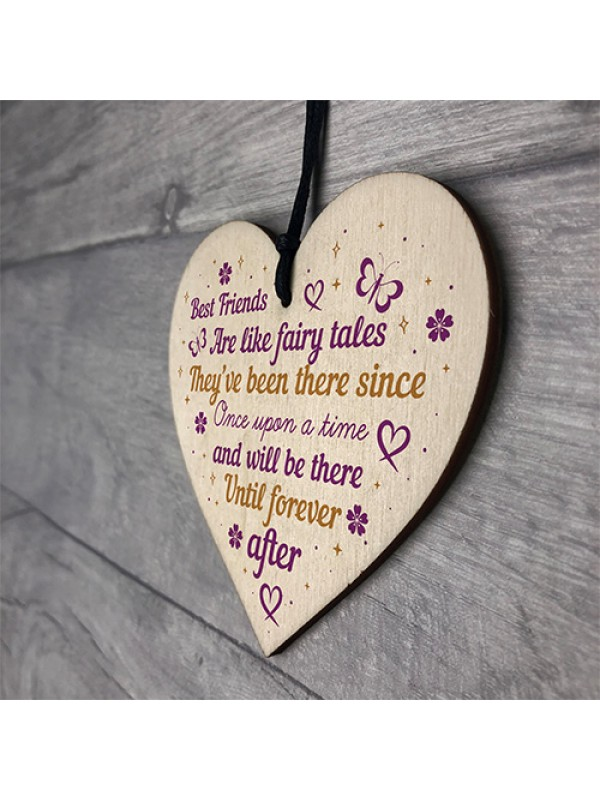 Best Friend Friendship Plaque Wooden Heart Thank You Christmas