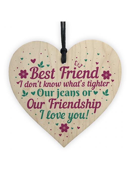 Christmas Gift For Best Friend Wooden Heart Keepsake Friendship