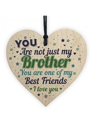 Novelty Brother Friendship Christmas Gifts Wooden Heart Plaque