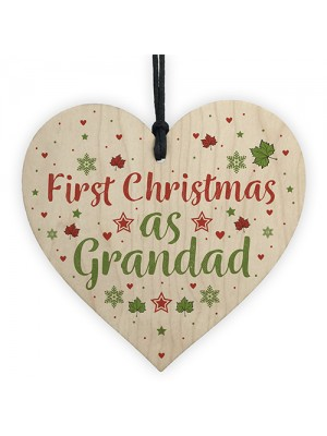 First Christmas Grandad Gift Wooden Heart Tree Bauble Decoration