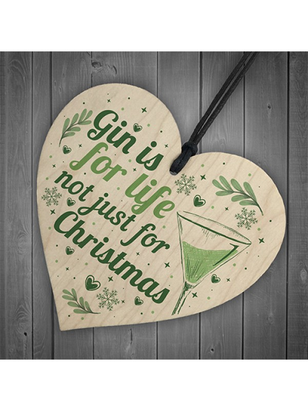 Gin Novelty Christmas Gift Tree Bauble Decoration Wooden Heart