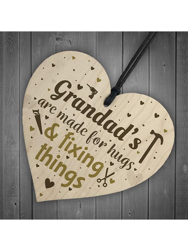 Grandad Novelty Gifts Wood Heart Grandad Christmas Birthday Card