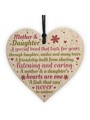 Mother Daughter Gifts Wooden Heart Friendship Plaque Mum Gifts