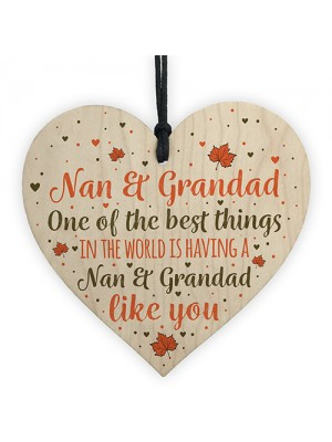 Nan Grandad Gift Hanging Heart Sign Birthday Christmas Xmas Gift