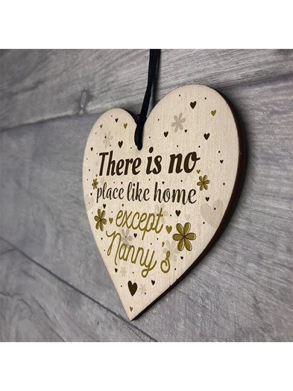 Nanny Nan Christmas Birthday Gifts Hanging Wooden Heart Sign