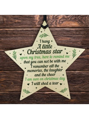 Christmas Wood Star Memorial Tree Decoration Ornament Mum Dad