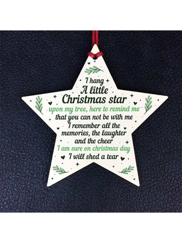 Christmas Wood Star Memorial Tree Decoration Ornament Mum Dad