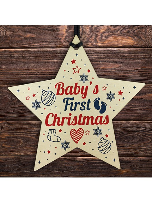Babys First Christmas Gift Wooden Star Tree Bauble 1st Xmas Gift