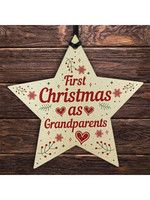 First 1st Christmas As Grandparents Tree Decoration Bauble Star