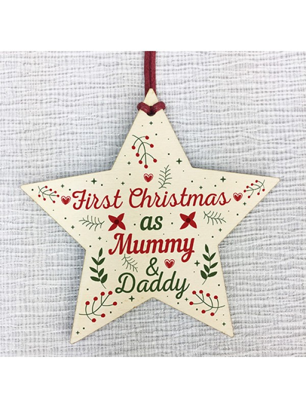 First Christmas As Mummy Daddy Wood Star Christmas Bauble Gifts