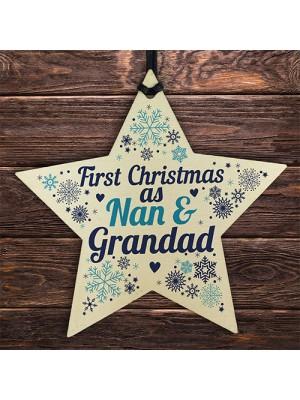 First Christmas As Nan Grandad Wood Star Christmas Bauble Gifts