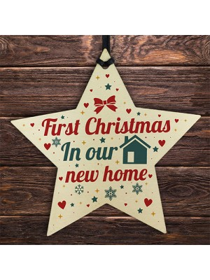 New Home Christmas Tree Wooden Star Bauble Gift Xmas Decoration