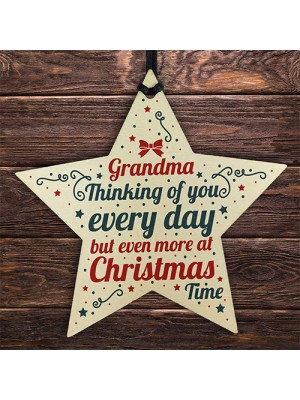 In Memory Wooden Star Tree Decoration Grandma Memorial Bauble