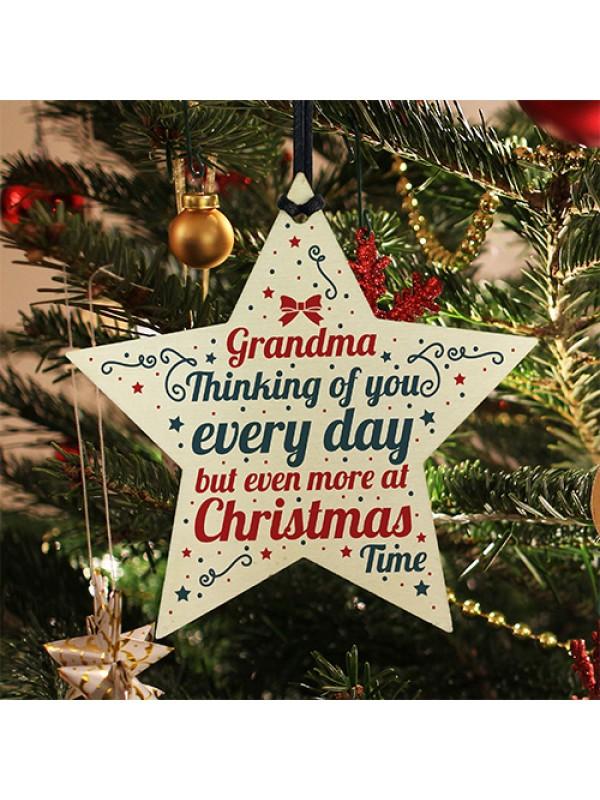 In Memory Hanging Wooden Star Christmas Tree Decoration Grandad Memorial Bauble