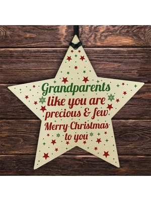 Grandparents Christmas Gifts Wooden Star Tree Bauble Decoration