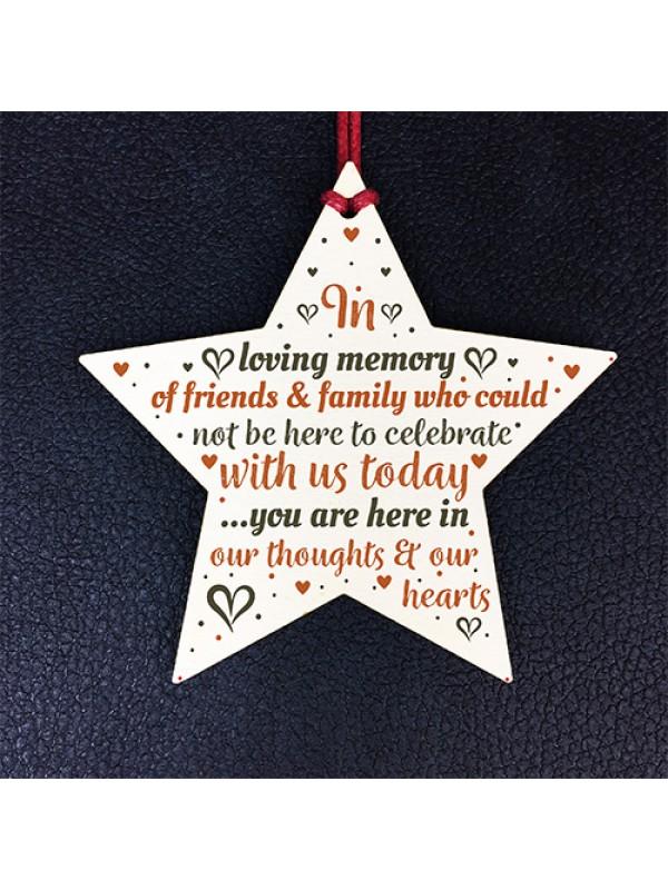 Hanging Wooden Star Christmas Tree Decoration Mum Nan Dad Gift