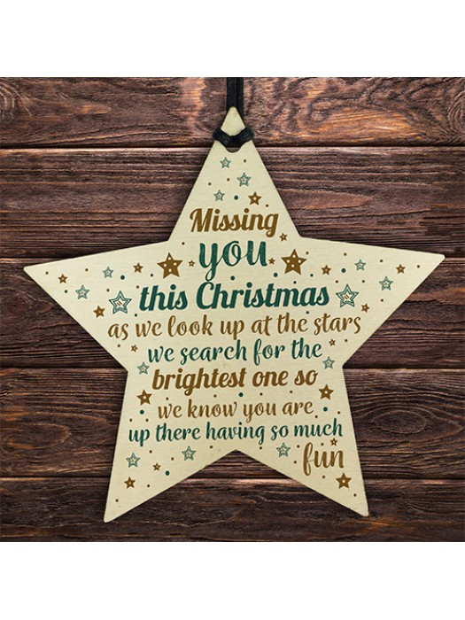 Missing You This Christmas Wooden Star Tree Memorial Decoration