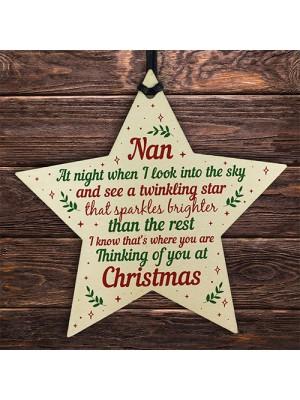 Wood Memory Star Christmas Tree Decoration Bauble Nan Memorial