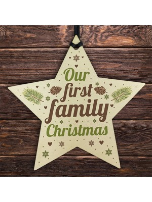 First Family Christmas Tree Wood Star Bauble Gift Ornament Gifts