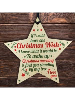 Christmas Wish Mum Dad Grandad Wood Star Memorial Tree Gift