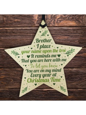 In Memory Brother Memorial Gift Wood Star Christmas Tree Bauble