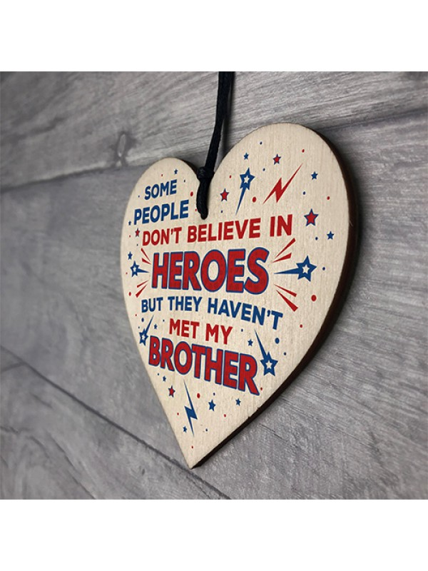 HERO BROTHER Gift For Birthday Christmas Wooden Heart Plaque