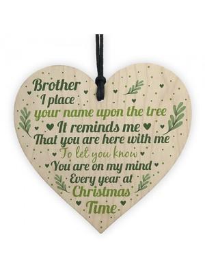 Brother Memorial In Loving Memory Wood Heart Christmas Bauble