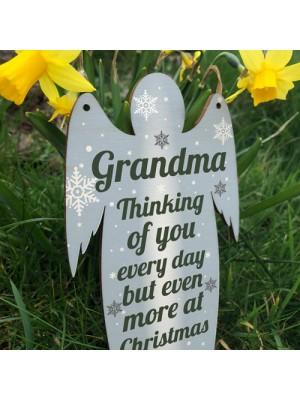 Grandma Memorial Wooden Angel In Memory Plaque Rememberance