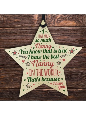 Best NAN Gift For Nanny Wooden Hanging Star Birthday Christmas