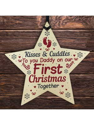 Daddy First 1st Christmas Newborn Baby Gift Wood Star Bauble