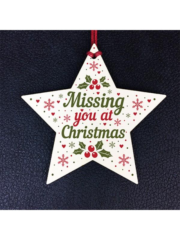 Christmas Memorial Gift For MUM DAD NAN Wooden Star Decoration